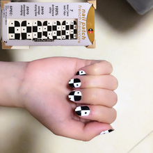 Black White Geometric squares Nail Arts Nail Sticker Waterproof Nail Decal Sticker Gel Polish French Manicure