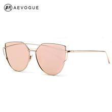 AEVOGUE Sunglasses Women 2016 Newest Metal Nose Pad Cat Eye Copper Frame Sun Glasses Brand Designer With Box UV400 AE0342