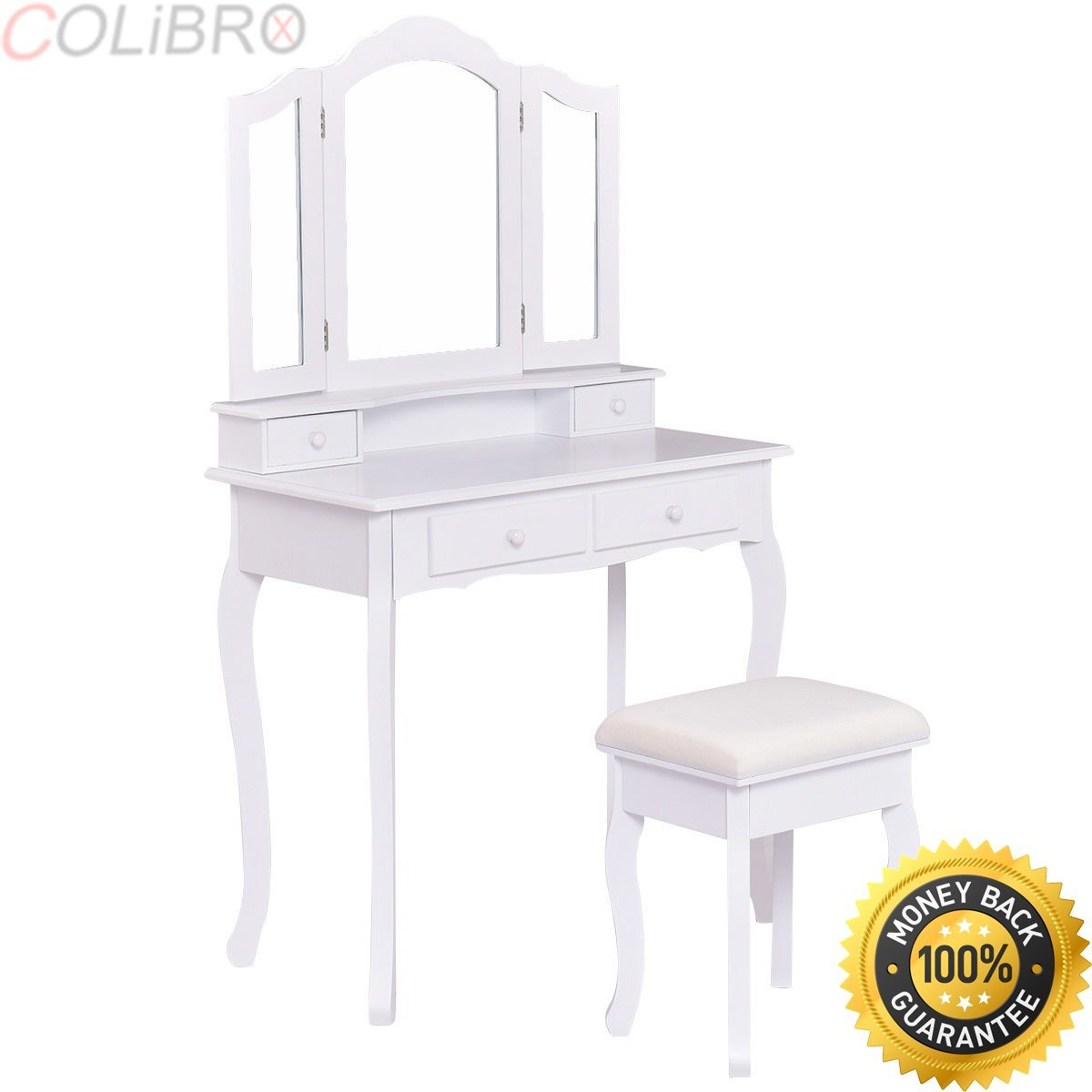 COLIBROX--White Vanity Makeup Dressing Table Set W/Stool 4 Drawer&Mirror Jewelry Wood Desk. bathroom wood vanity makeup dressing table stool set white. amazon vanity table jewelry makeup desk.