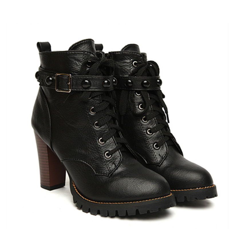 2016 New Winter Women Black High Heel Martin Boots Buckle ...
