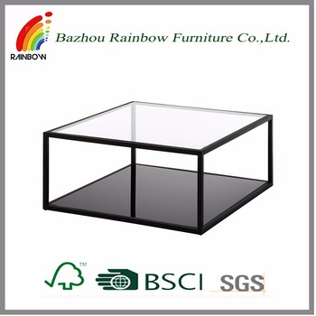 Glass Top Steel Frame Home Center Or Corner Coffee Table Design