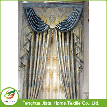 Luxury European Style Window Curtains Sliding Vintage Fancy Curtain