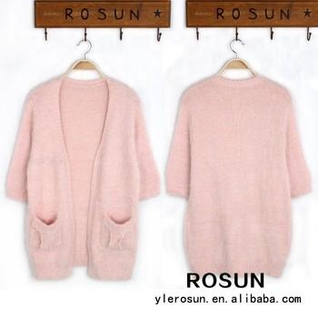 Alta Moda Para Mujer Ropa Pure Color Cardigan Suéter Tejido A Mano ... c04b3c6dacbc