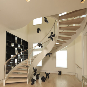 Chinese Supplier Curved Glass Staircase With Frameless Glass Railing
