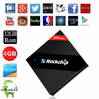 RK3399 Android Smart 4K TV Box Six core Media Player Free Movies h96 max stream tv box