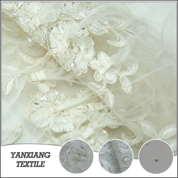 Factory price rhinestone and beaded textile feather fabric material