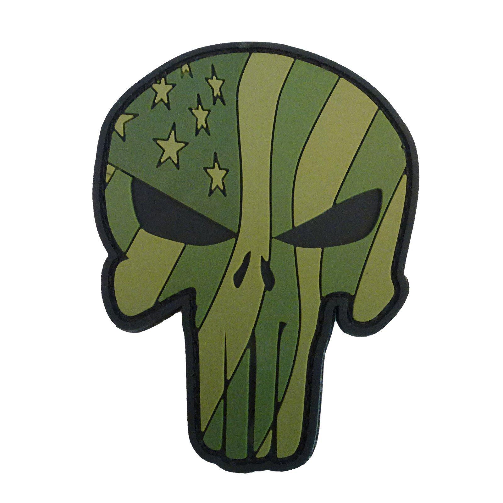 Olive Drab OD 3D Punisher Skull American Waving Flag PVC Rubber Hook&Loop Patch