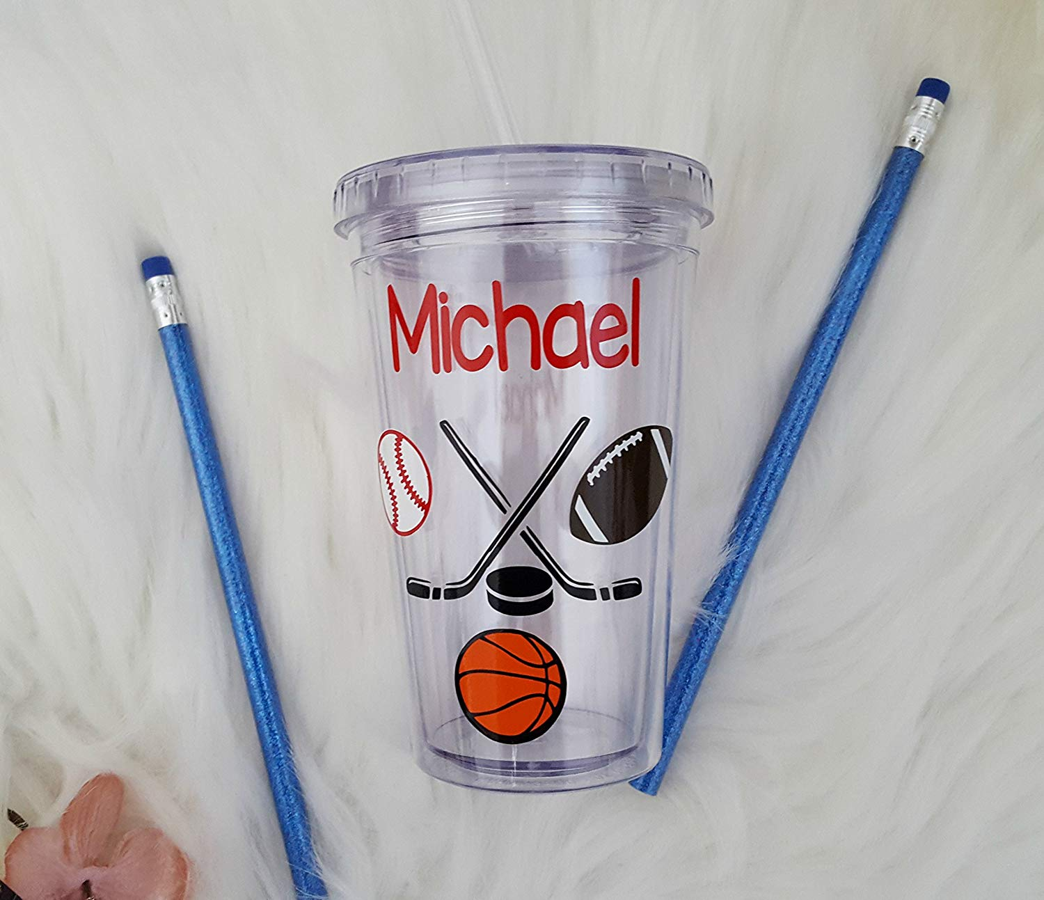 A fully customized boy sports tumbler. Personalized tumbler perfect for a kids cup or a boys birthday party decor or birthday cup party favors!