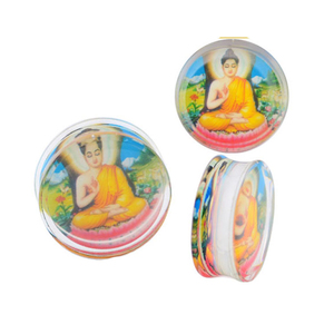 Fashion jewelry Transparent Clear Acrylic Buddha Saddle Double Flared Ear Tunnels Plugs