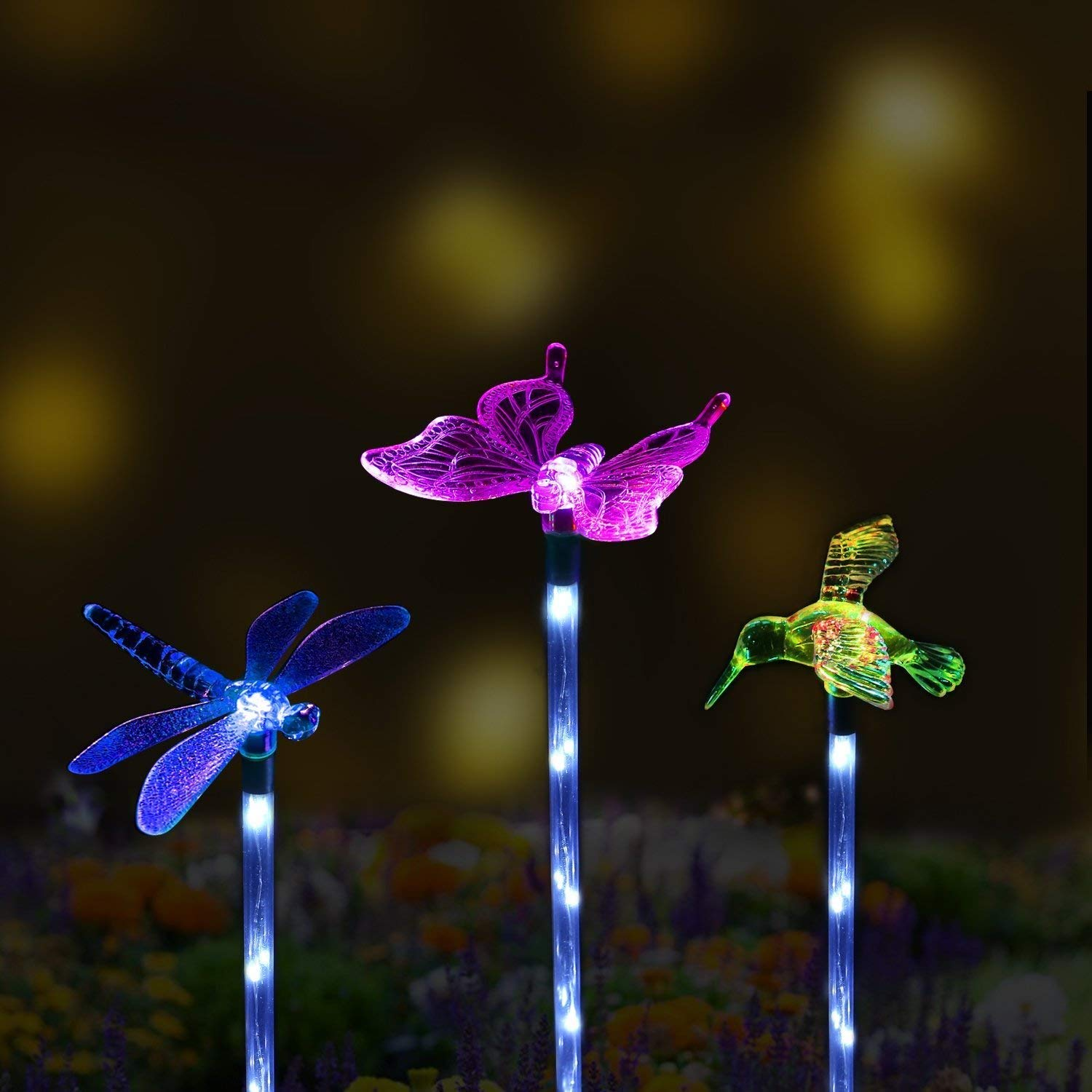 NNBB Solar Garden Lights Outdoor- 3 Pack SurLight Solar Garden Lights Color Changing Garden Stake Light,Decorative Waterproof Night Lights,Warm White LED Stainless Steel,Lamp for Patio,Lawn,Backyard