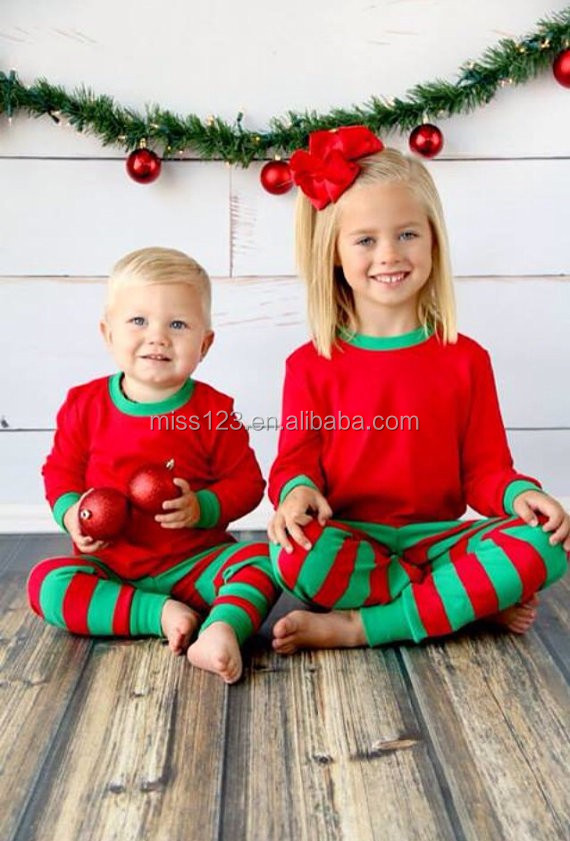Organic Cotton Baby Striped Christmas Pajamas For Family Matching ...