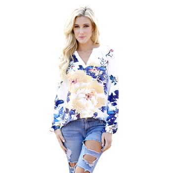Wholesale women floral printed V neck long sleeve tunic tops designer 2019 spring summer ladies blouse designs for fat ladies