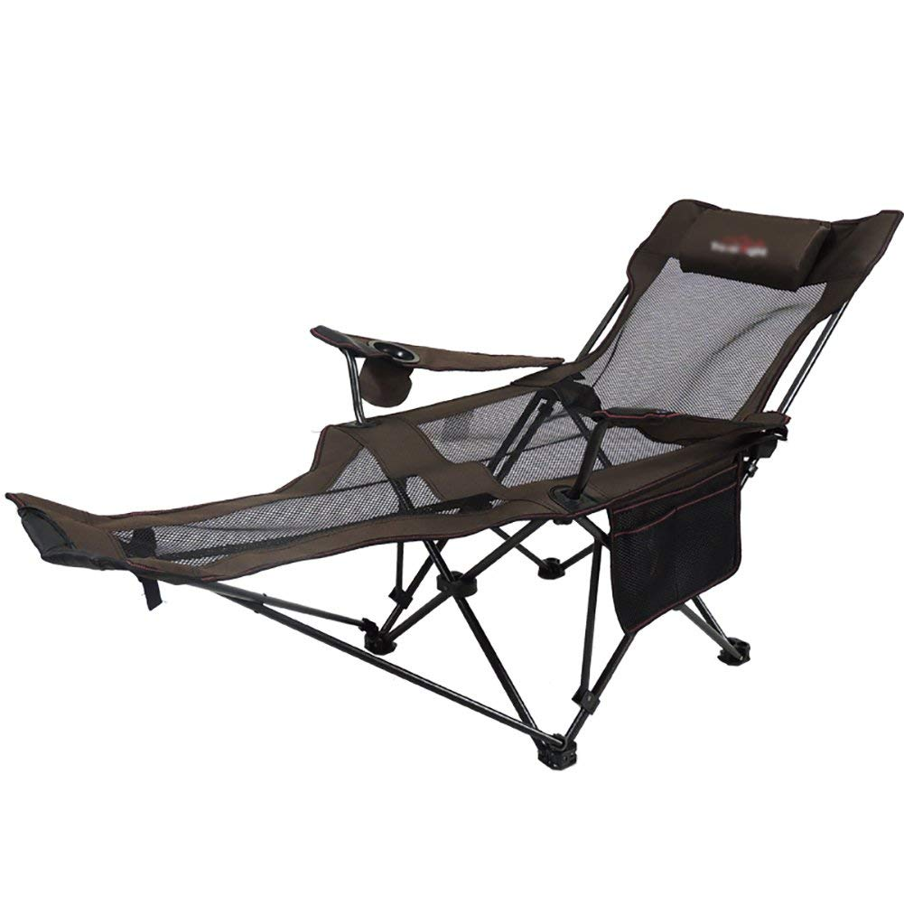Outdoor lounge chair Lightweight Folding Deck Chair Napping Office Lunch Break Chair High Backrest Adjustment Recliner