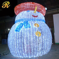 Christmas led snowman with hat for outdoor decoration