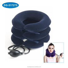 China Optional Size Neck Traction Round Travel Pillow, Adjustable inflatable plush cervical neck traction pillow