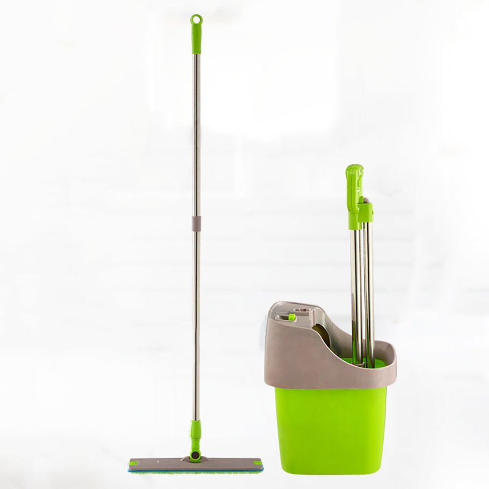 LJHA xuanzhuantuoba Mop And Bucket Set/Flat/Hand Wash Free/Spray Water/Scratch Hair/Wipe The Water/Three Effects Syncretic/Single Bucket/Rotate/Snap-type Mop Green