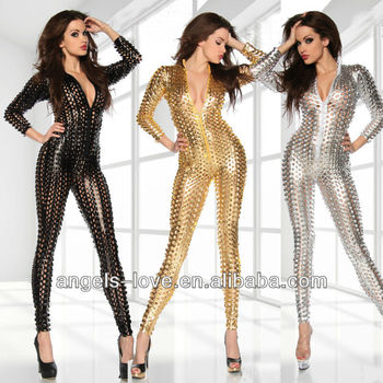 Fashion lady gothic faux leather tight catsuit,hollow performance dress stagewear A5219