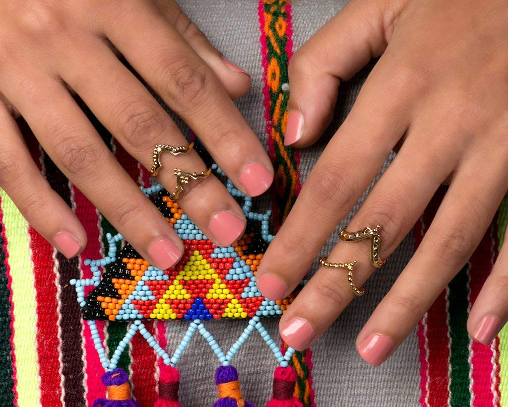 Midi Knuckle Ring Set, 24k Gold Plated Boho Indian Style Stacking Rings, Handmade Unique Statement Jewelry