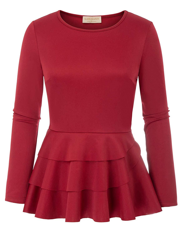 5d488c3106d Get Quotations · Kate Kasin Women's Side Ruffle Long Sleeve Cowl Neck  Peplum Tops Shirt