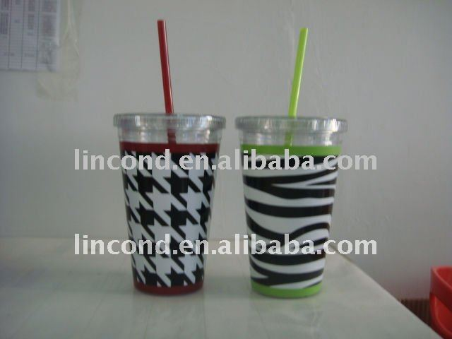 LD-C201 16 OZ plastic double wall cup with straw and lid