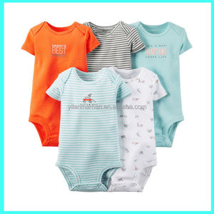 5 pack short sleeve rompers, baby girl bodysuits