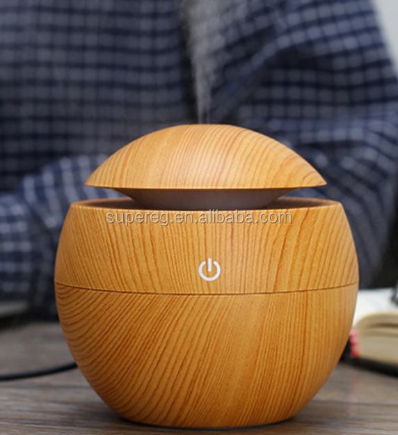Mini round wooden grain USB himidifier aroma diffusers car himidifiser