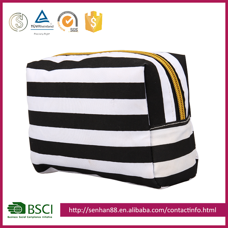 OEM Factory Made Canvas Cosmetic Case Stripe Toiletry Bag