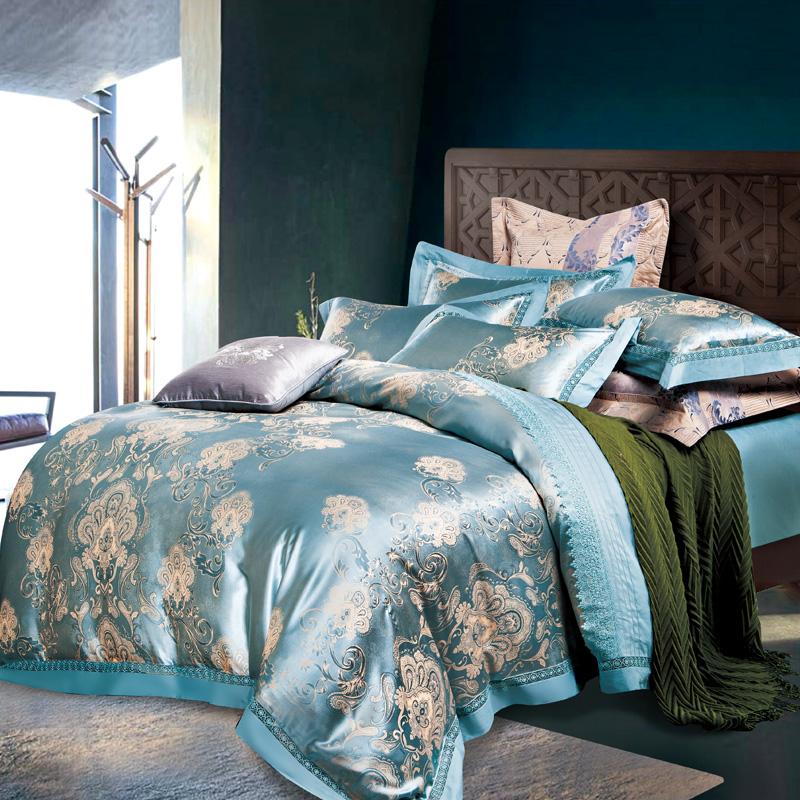 Wholesale Silver Blue Jacquard Bedding Sets Queen King Size Duvet Cover Silk Cotton Blend Fabric Luxury Bedlinen Bedsheet Pillowcase Girls Bedding