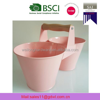 Connected Double Colourful Cartoon Style Metal Bucket With Wooden Handle
