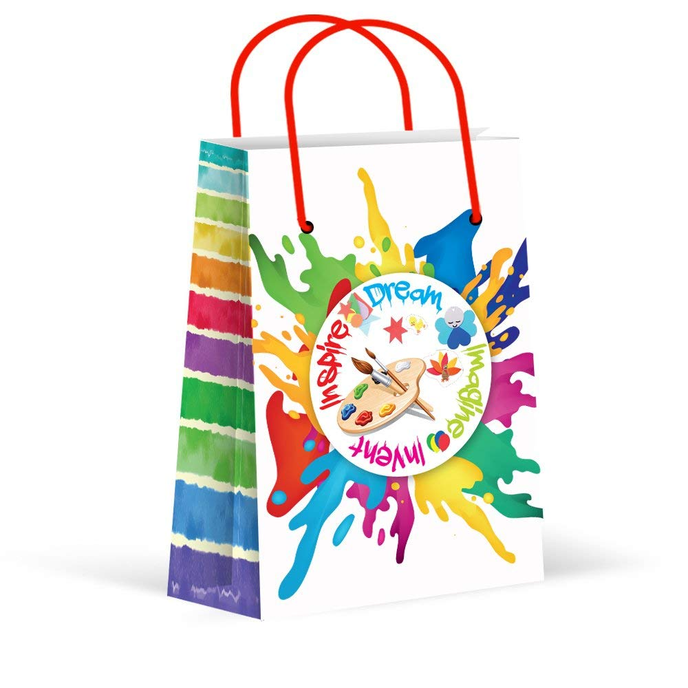 Premium Paint Art Party Bags, Paint & Art Party Favor Bags, New, Treat Bags, Gift Bags,Goody Bags, Paint Party Supplies, Decorations, 12 Pack