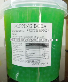 Green apple popping fruit juice ball