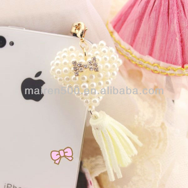 free shipping Pearl heart dust plug for mobile phone (XT-090)