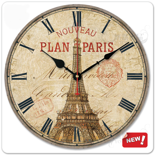 Free shipping 12-inch  Fashion home decoration rustic wool wall clock mute quartz eiffel