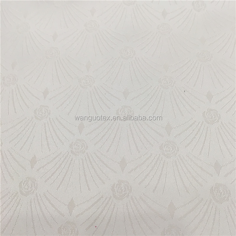 Polyester Rose Jacquard Satin Fabric for Brand Women Garments and Evening Dress