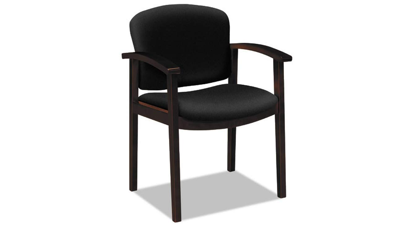 Wood Guest Chair 2111 Invitation Reception Series Mahogany/Solid Black Fabric K&A Company