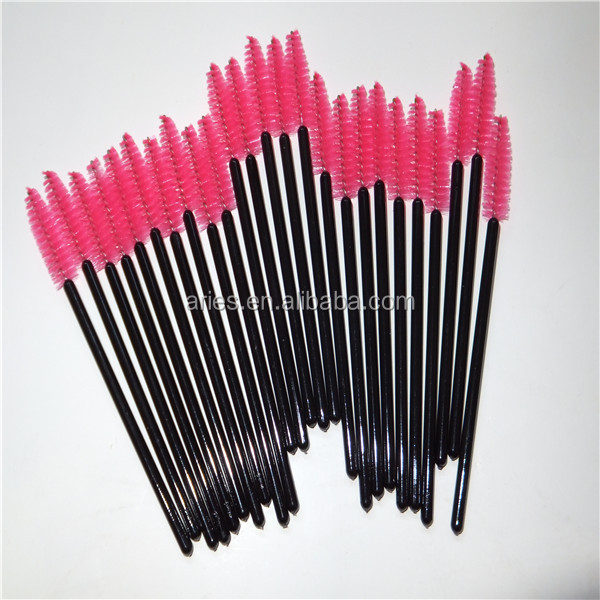 Free sample mascara wands plastic handle disposable eyelash brush colorful mascara wands wholesale