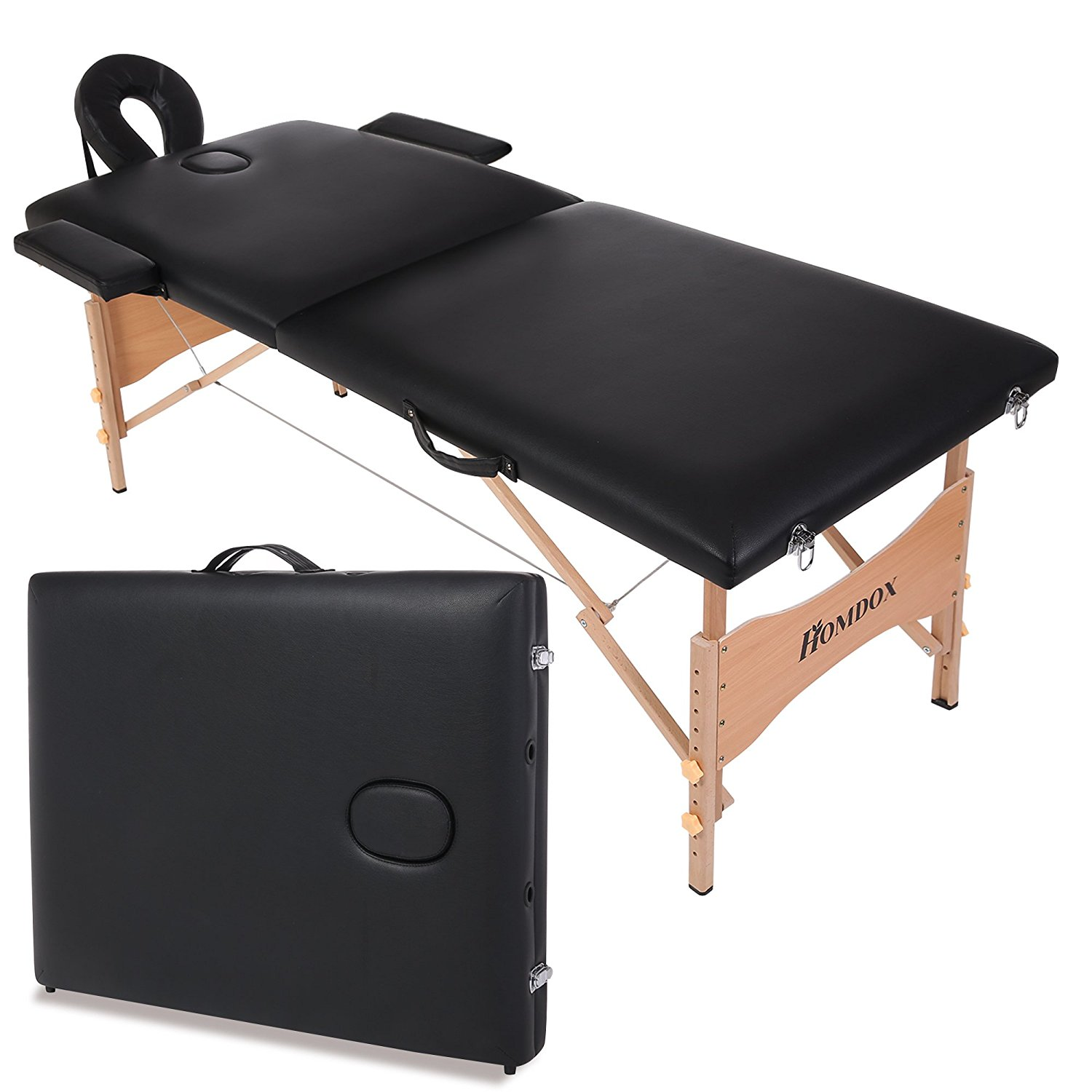 Homdox New Black Portable Massage Table Two-fold with Wooden Feet w/Free Carry Case (black)
