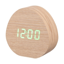 Fashion multi-function LED luminous bedside wooden alarm clock student home creative simple mini-mute