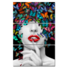 3 Pieces Wall Art Abstract Beautiful Sexy Woman Colorful Butterfly Printing on Canvas Red Lip Painting Picture Contemporary Girl