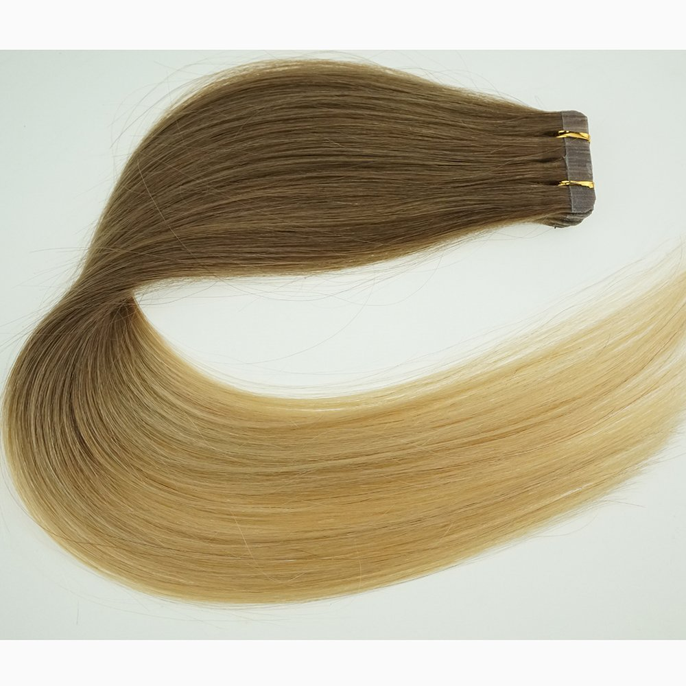 "18"" Tape in Human Hair Extensions Ombre Hair 20pcs/40g Woman Beauty Cosplay Wig,(Color #12/20 Top Light Brown End Blonde)"