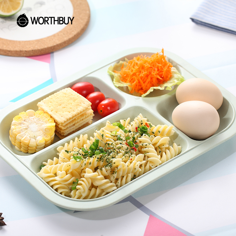 WORTHBUY Bamboo Fiber Kids Dinner Plate Eco-Friendly Rectangle Snack Plate Dish Fruits Food Container Rice Dish Feeding Plate