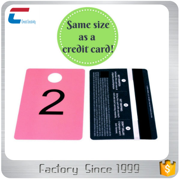 Credit Card Size Plastic Number Hanger Tags with 12.7mm or 15mm Hole Mirrored Number Hanger Cards