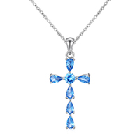 Cubic Zirconia Cross Necklace Pendant 925 Sterling Silver Jewellery