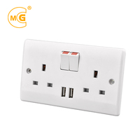 BS UK 13A dual USB wall outlet universal multi socket