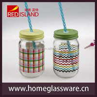 ball mason jar without handle with beautiful decal
