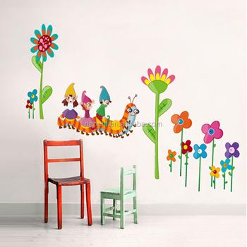 Cartoon Zeichen Sitzen Auf Die Raupe Wand Aufkleber Für Schlafzimmer