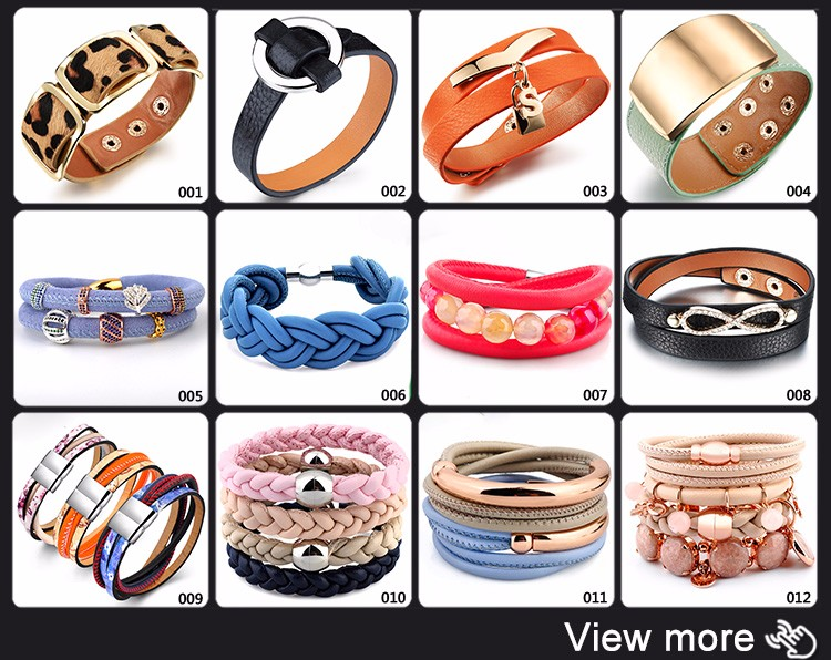 Custom Women Colorful Wrap Multi Layers Bulk Genuine Braided Leather Bracelet