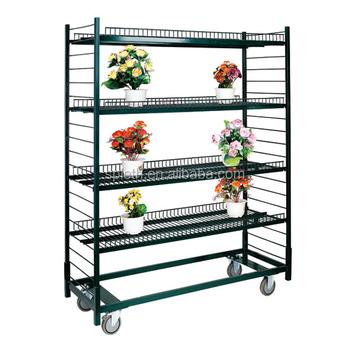 3 4 Tiers Garden Tool Rack Mesh Rolling Cart Commercial Plant Racks