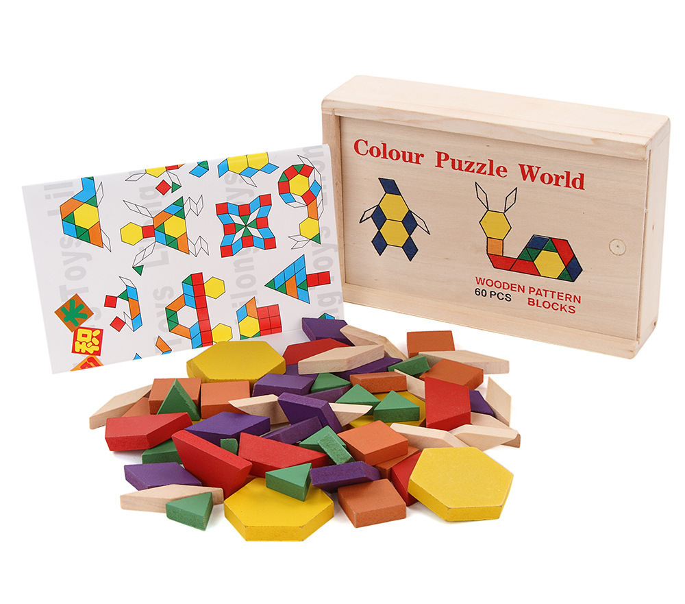 2015 Colorful Tangram Puzzle Tetris Game children educational puzzle wooden toy early education developmental Baby Toy
