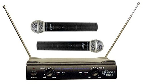 Pyle Pro Dual Microphone System - Channel VHF Professional Wireless Set w/ 2 Handheld Microphones, Receiver Base, 1/4'' Audio Connection Cable, 2 9V Battery - For Karaoke, PA, Public Event - PDWM2500